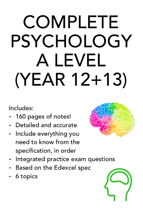A LEVEL PSYCHOLOGY COMPLETE NOTES! 160+ PAGES   ALL 6 TOPICS
