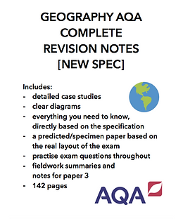GEOGRAPHY GCSE AQA COMPLETE REVISION NOTES (papers 1,2,3 + practice questions)
