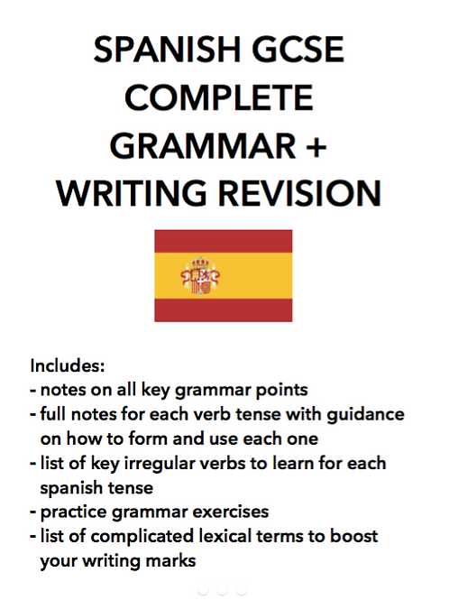 SPANISH GCSE + IGCSE COMPLETE WRITING AND GRAMMAR NOTES