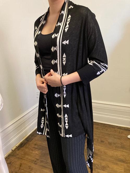 Châle  noir et blanc, look Aztec Chic size M.