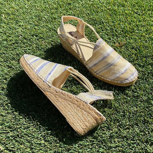 Chaussure plateforme en tissus beige lignée bleue Toni Pons