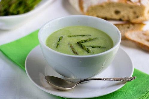 Asparagus Soup, Creme Fraiche & Pine Nuts