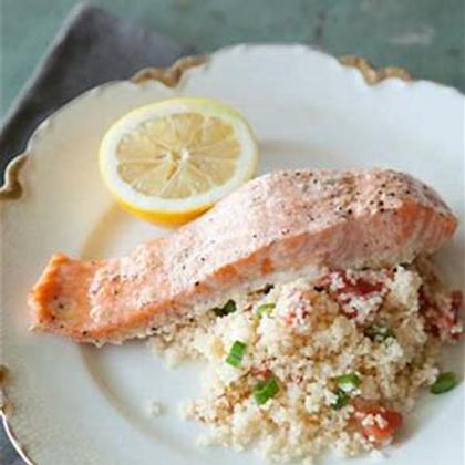 Salmon over couscous