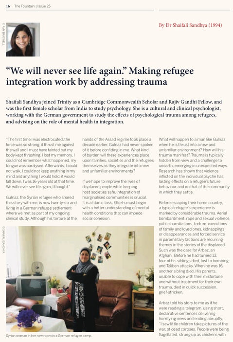 """""""We Will Never See Life Again."""" Making Refugee Integration Work By Addressing Trauma"""