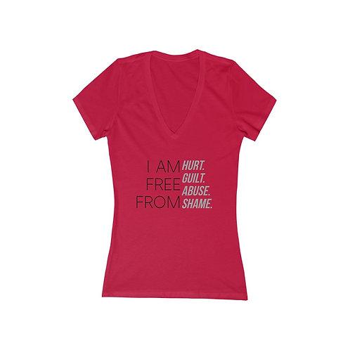 """I AM FREE FROM"" Women's Jersey Short Sleeve Deep V-Neck Tee"