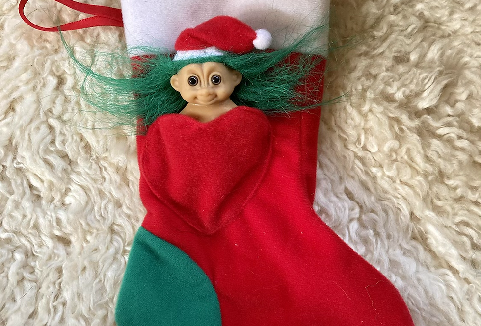 Vintate Christmas Troll Stocking