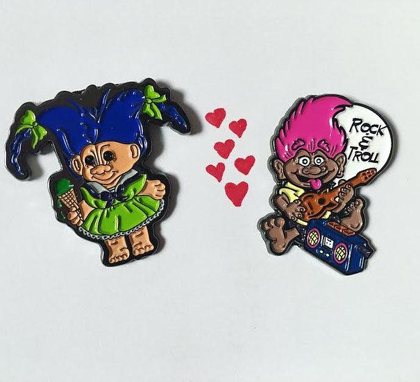 Set of 2 Troll Pins (Ice Cream Troll Pin + Rock n Troll Pin)