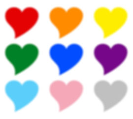 9 different coloured hearts