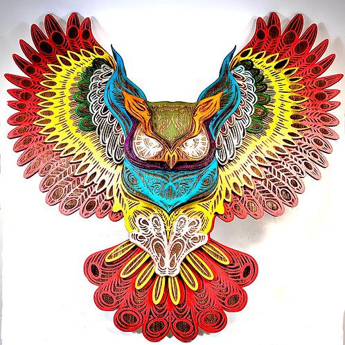3D Layered Owl Mandala