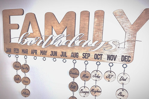 Handmade laser cut family birthday calendar