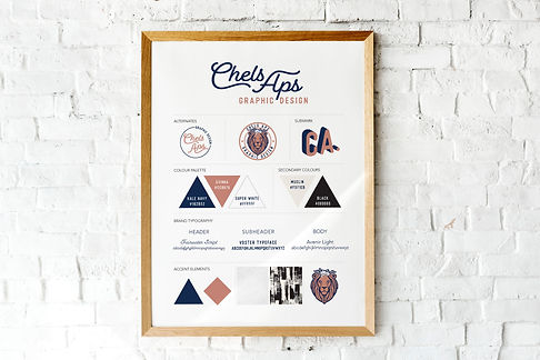 chels aps graphic design brand board sienna and navy lion head retro design modern design alternates submark color palette secondary colors tyopgraphy hierarchy