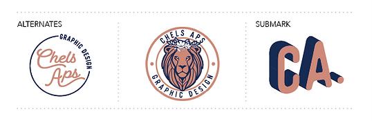 Chels aps graphic design CA monogram lion head logo alternates submark sienna and navy