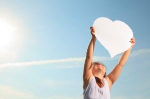 Girl heart sky