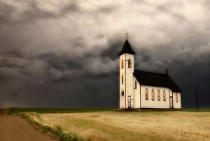 church in storm