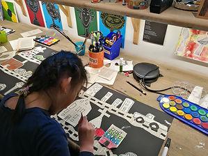 mixed media course, art class kids, grafikk for barn, høytrykk, kreative barn