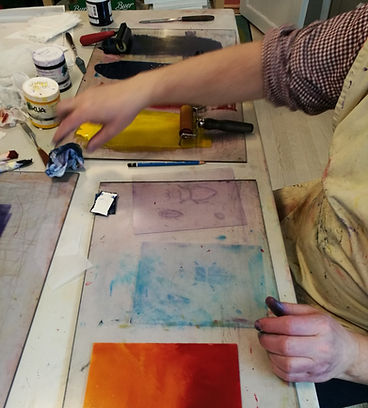 trykk, grafikkpresse, kurs ungdom, kunstkurs, art class