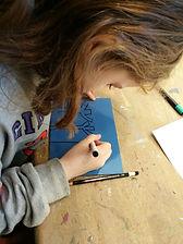 linocut for kids, linosnitt for barn, grafikkurs barn, farger, kurs, tegning