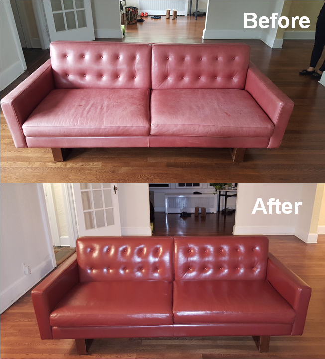 Leathe Loveseat Restoration Redyeing
