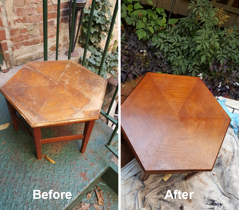 Side table refinishing & restoration