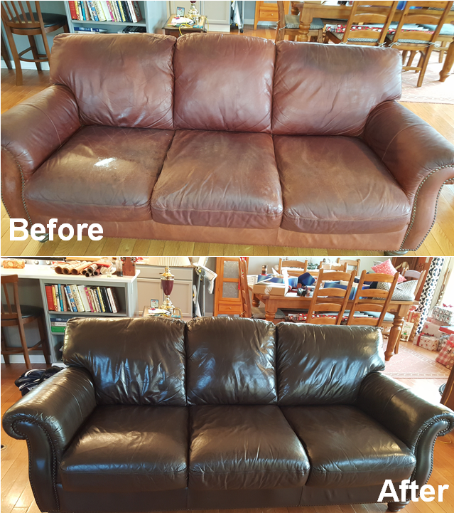 Leathe Loveseat Restoration Re-Dyeing
