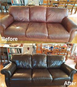 Leathe Loveseat Restoration Re-Dyeing