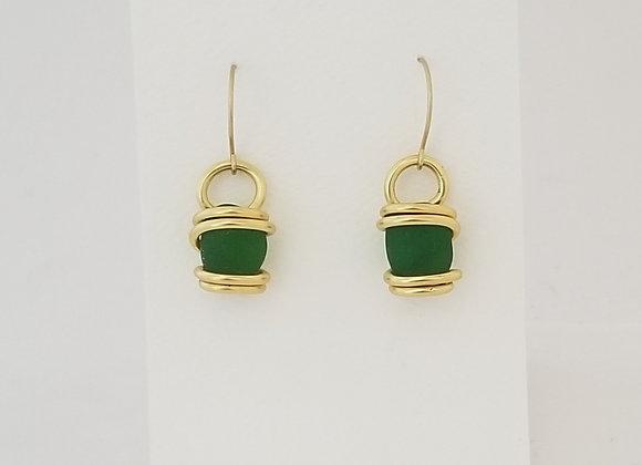 Emerald sea glass earrings