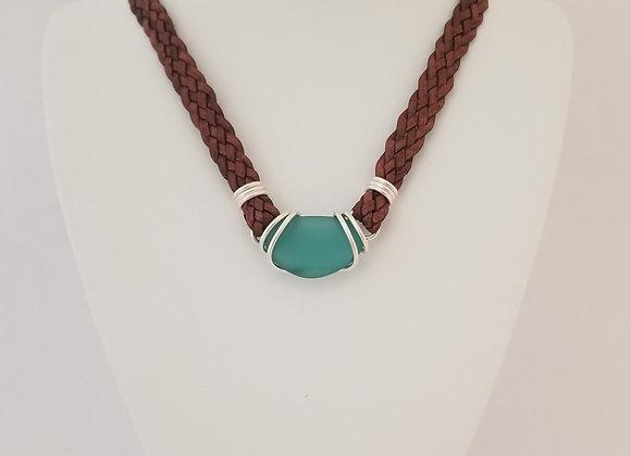 Large aqua sea glass necklace