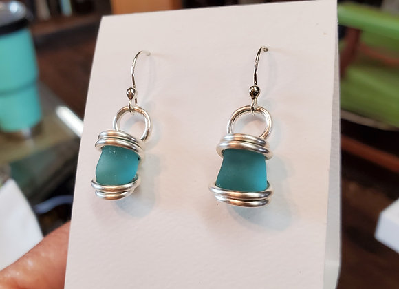 Aqua sea glass earrings silver wire