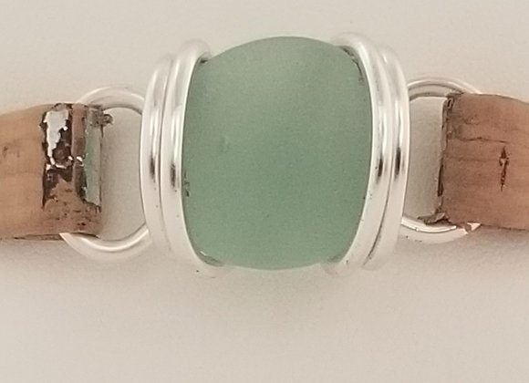 """Sea Foam"" sea glass bracelet"