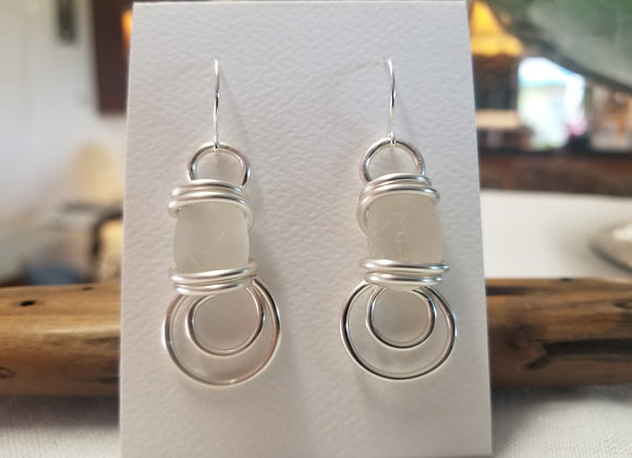 """White Water"" sea glass earrings"