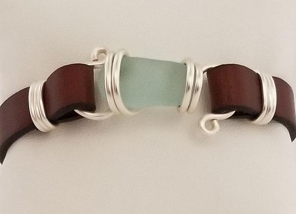 Soft aqua sea glass bracelet