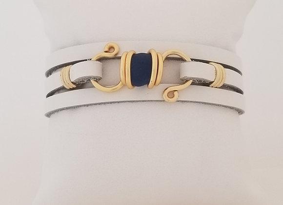 Navy blue sea glass bracelet