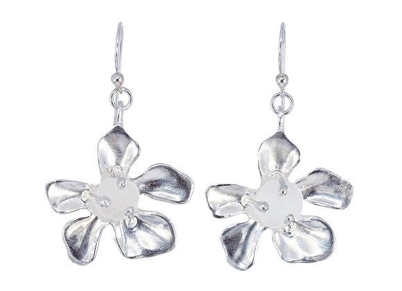 Sterling silver plumeria sea glass earrings