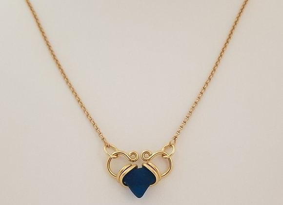 """ILY"" sapphire sea glass heart necklace"