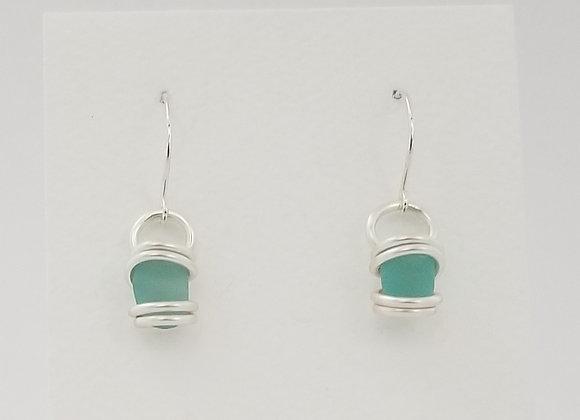 Mini aqua sea glass earrings