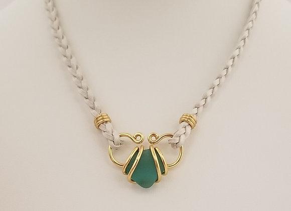 Rich aqua sea glass necklace