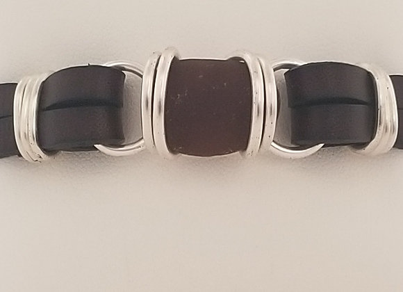 """Dark Chocolate"" sea glass bracelet"