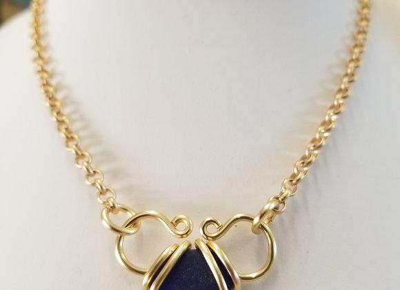 Deep cobalt heart necklace