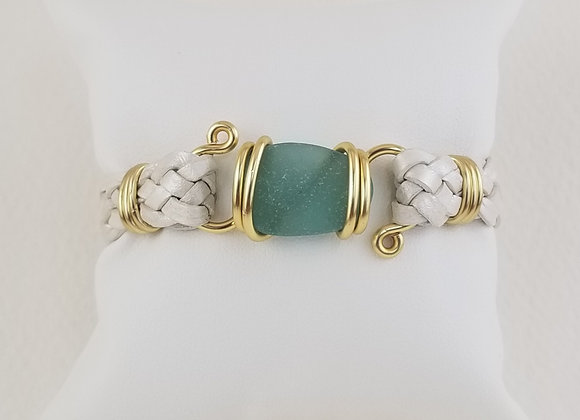 """""""Hayling Aqua"""" sea glass focal with your choice of strap"""