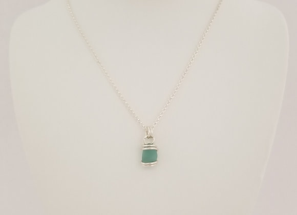Soft aqua sea glass necklace