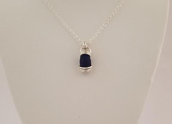Blue/black sea glass necklace