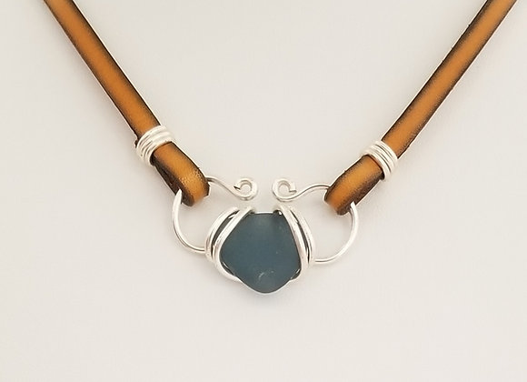 Cornflower blue sea glass necklace