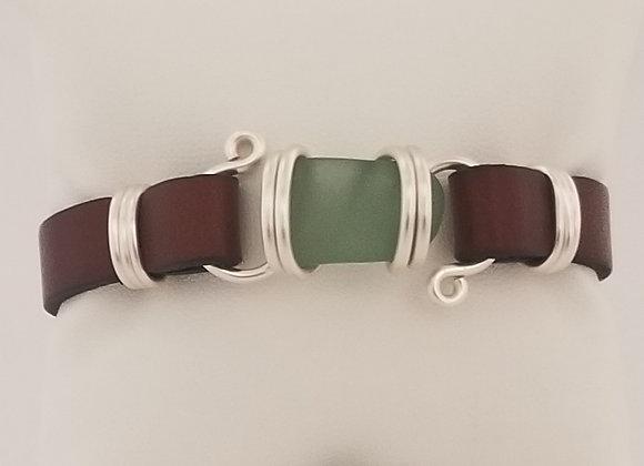 Green/teal sea glass bracelet