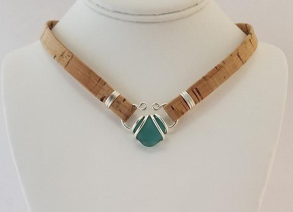"""Akasha"" aqua sea glass necklace"