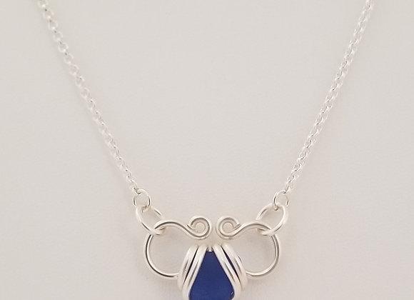Small open heart sea glass necklace