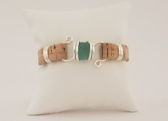 Aqua/teal sea glass bracelet