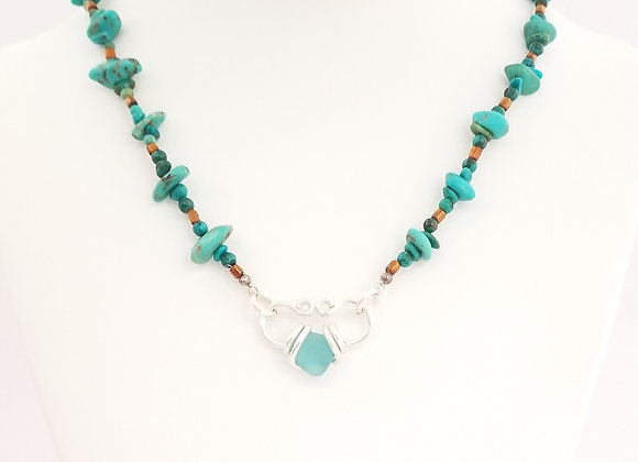Turquoise sea glass and stone necklace