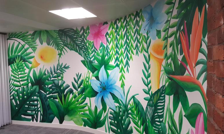 Tropical rainforest mural