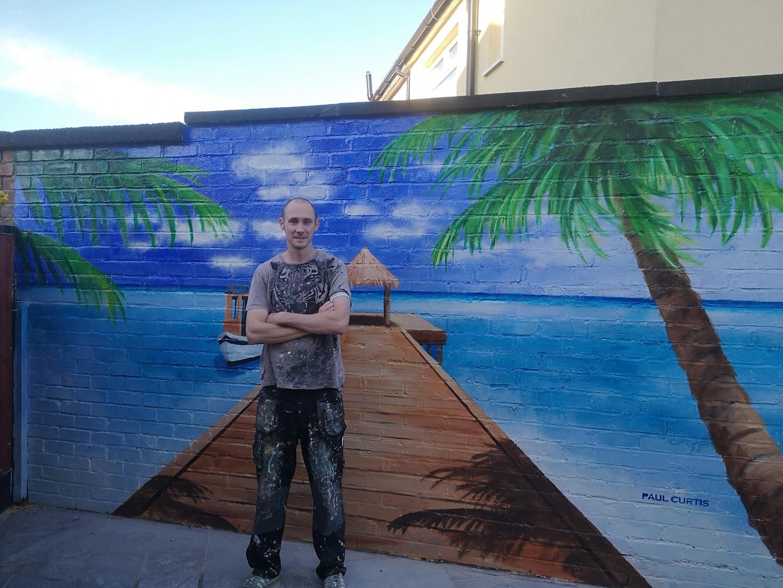 Paul Curtis' home beach paradise mural