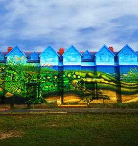 """Largest ever painting by a single artist in UK... """"Ainsley & Dale"""" Sand Lizards Street Art, Ainsdale"""